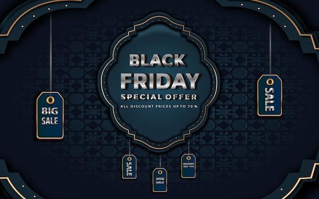 Venda de cartões de felicitações na sexta-feira negra com preços de rótulos até desconto na decoração floral azul