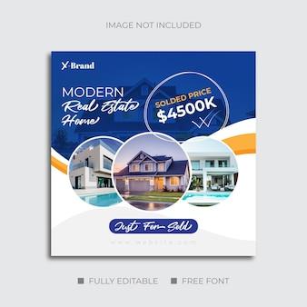 Venda de casa de negócios imobiliários para postagem em mídia social ou flyer quadrado