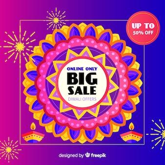 Venda de celebração de diwali em design plano