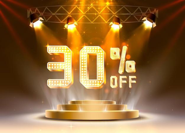 Venda de cena dourada 30 fora do banner de texto. sinal noturno. ilustração vetorial