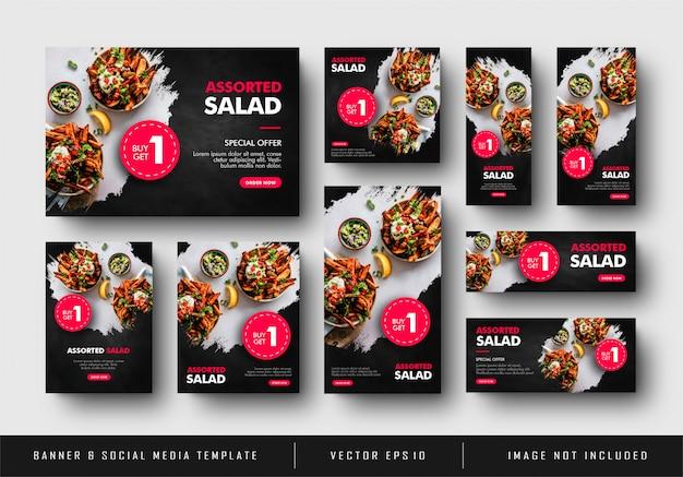 Venda de comida de banner de anúncio digital de mídia social vermelha preta com coleção de textura splash