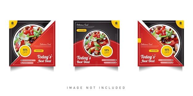 Venda de comida em mídias sociais e design de modelo de banner