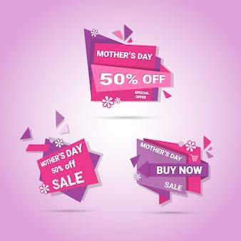 Venda de compras feliz dia da mãe desconto etiqueta conjunto, banner de cartão de férias de primavera