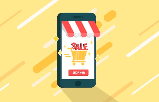 Venda de compras on-line na plataforma móvel.