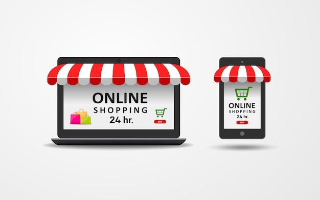 Venda de compras online para laptop e celular