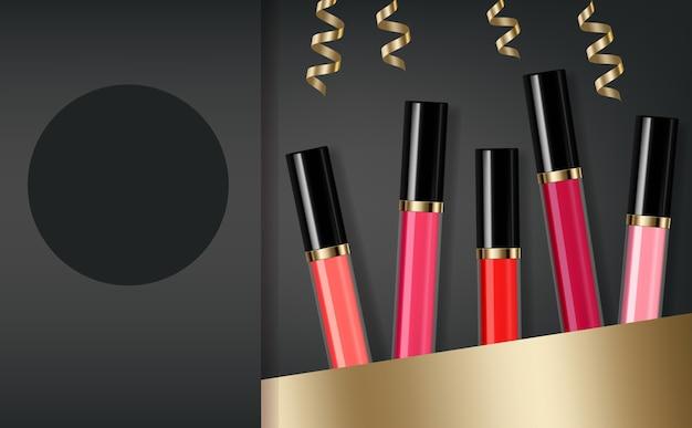 Venda de cosméticos de brilho labial