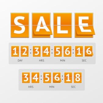 Venda de cronômetro de contagem regressiva. texto branco em placas laranja. o conceito de tempo de expiração
