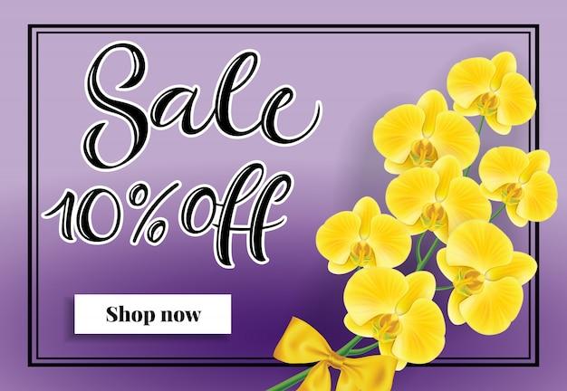 Venda de dez por cento fora compre agora lettering. inscrição de compras com orquídea amarela