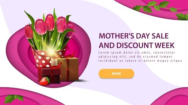 Venda de dia das mães e banner de desconto