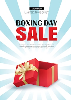 Venda de dia de boxe com modelo de cartaz de publicidade de caixa de presente vermelha.