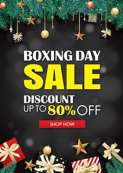 Venda de dia de boxe com modelo de cartaz de publicidade de caixa de presente.