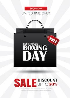 Venda de dia de boxe com modelo de cartaz de publicidade de sacola de compras.