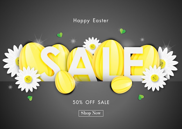 Venda de dia de páscoa fora fundo com forma de ovos de papel e vetor de flor de primavera