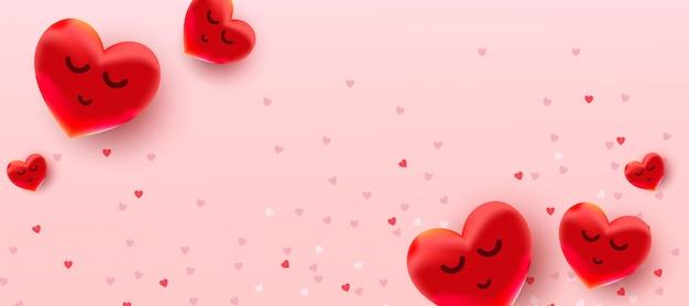 Venda de dia dos namorados com padrão de corações de balões vermelhos de folha de ar.