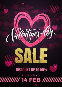 Venda de dia dos namorados coração pinak e texto caligrafia de luxo dourado para fundo preto premium para loja