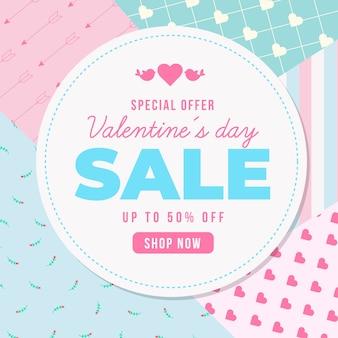 Venda de dia dos namorados design plano com oferta especial