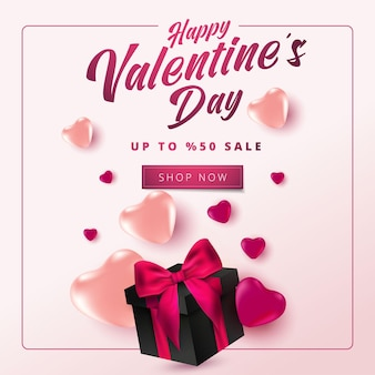 Venda de dia dos namorados fora do banner com corações e caixa de presente realista em fundo rosa suave. modelo de compras e promoção para o projeto de conceito de dia dos namorados.