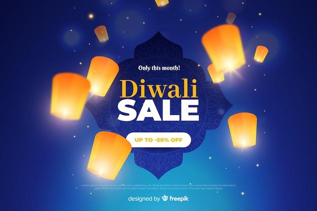 Venda de diwali com lanternas brilhantes