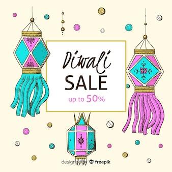 Venda de diwali desenhada à mão com desconto de 50%