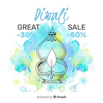 Venda de diwali desenhada à mão com grandes ofertas
