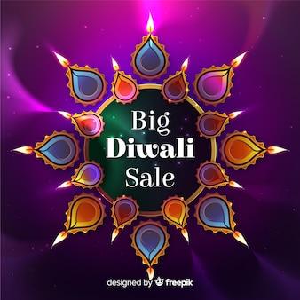 Venda de diwali estilo realista com velas