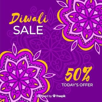 Venda de diwali floral desenhada de mão