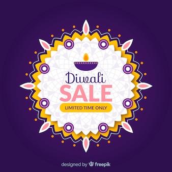 Venda de diwali plana com sol feito de velas