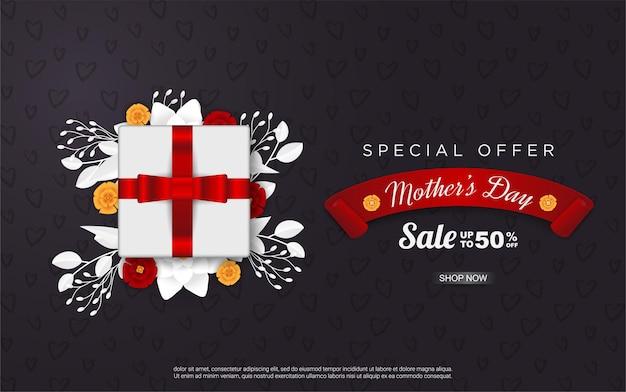 Venda de feliz dia das mães com caixa de presente em fundo preto