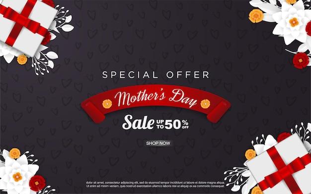 Venda de feliz dia das mães com caixa de presente realista e flores