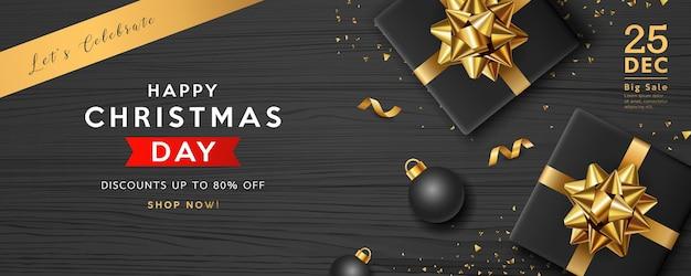 Venda de feliz natal, caixa de presente preta com fita dourada