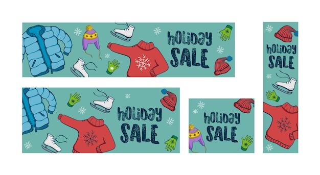 Venda de férias de inverno conjunto de 4 banners web
