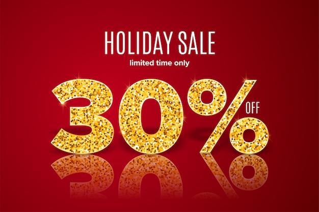 Venda de férias dourada 30% de desconto em fundo vermelho
