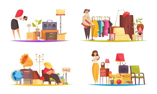 Venda de garagem definida com roupas e flat para funcionários isolado