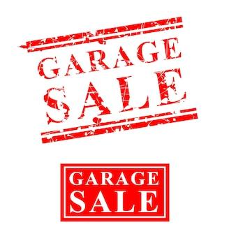 Venda de garagem em vetor, carimbo de borracha vermelho arranhado de 2 estilos