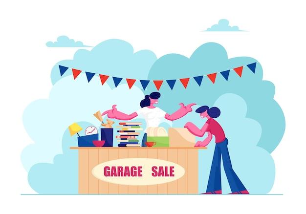Venda de garagem externa com utensílios domésticos, roupas, livros e brinquedos