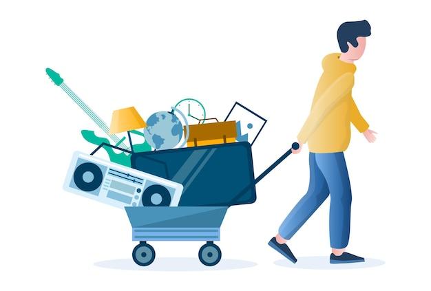 Venda de garagem. homem puxando o carrinho com velhos produtos domésticos usados, ilustração vetorial plana. venda de quintal, mercado de pulgas.