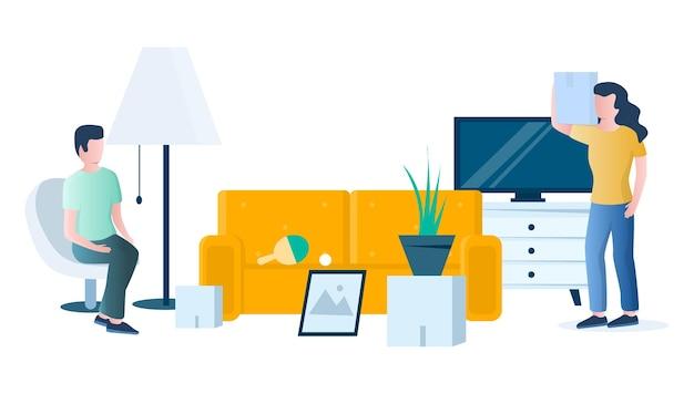 Venda de garagem. pessoas vendendo e comprando móveis para casa, bens usados vintage, ilustração vetorial. venda de jardim, mercado de pulgas.