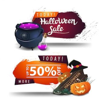 Venda de halloween, banners de desconto com panela de bruxa, sinal de madeira, chapéu de bruxa e abóbora jack