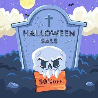 Venda de halloween de design plano com desconto