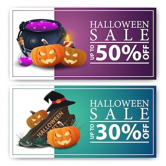 Venda de halloween, dois banners de desconto com placa de madeira, chapéu de bruxa, panela de bruxa e abóbora jack