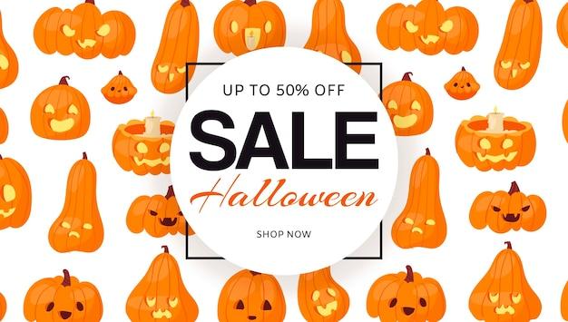 Venda de halloween feriado com abóboras cabeças padrão, banner.