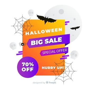 Venda de halloween plana com corvo e teia de aranha