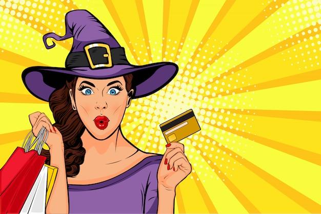 Venda de halloween. pop art jovem garota na fantasia de bruxa e sacolas de compras
