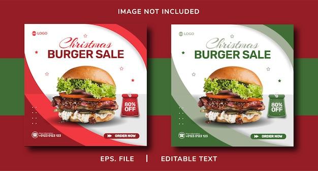 Venda de hambúrguer de natal promoção de mídia social e modelo de instagram banner post design