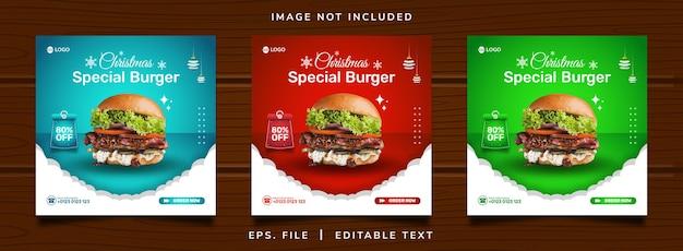 Venda de hambúrguer de natal promoção em mídia social e design de postagem de banner instagram