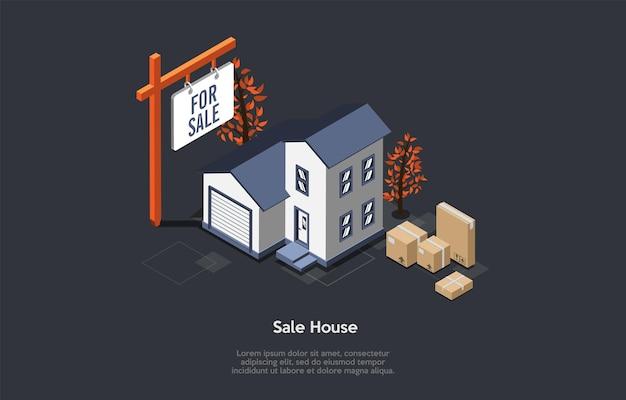 Venda de imóveis e compra de novo conceito de casa.