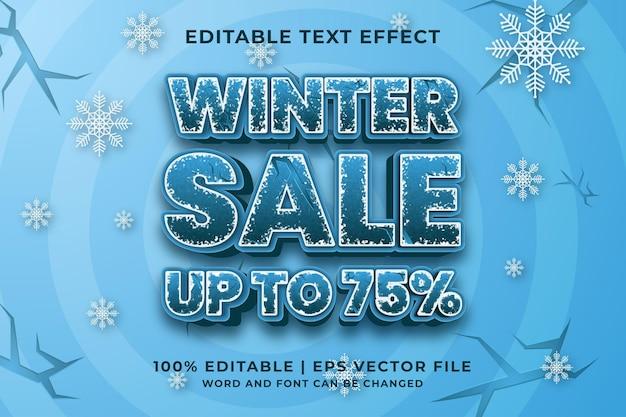 Venda de inverno 3d com efeito de texto editável vetor premium
