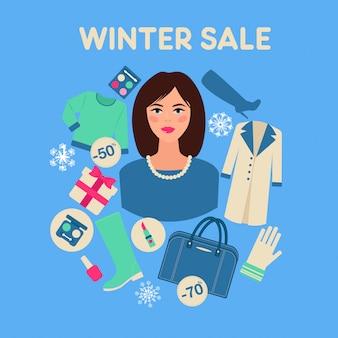 Venda de inverno comercial em design plano com mulher