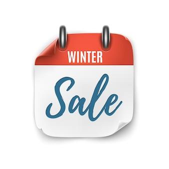 Venda de inverno. ícone de calendário realista isolado no fundo branco. ilustração vetorial