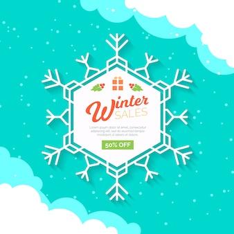 Venda de inverno plana com floco de neve branco